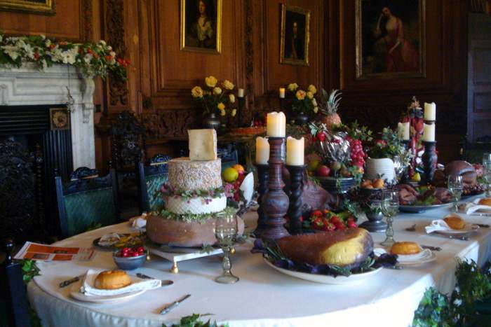 Sumptuous display of food at Tredegar House in Wales