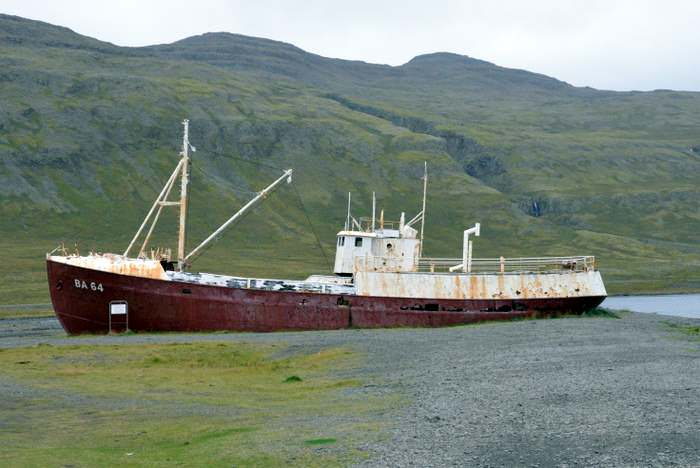 The Gardar -in the westfjords, the oldest steel ship in Iceland