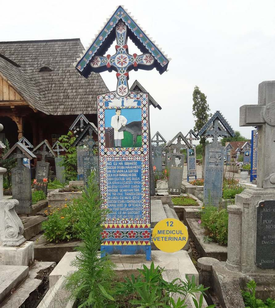 grave marker dedicated to a loved veternatian at the Merry Romanian cemetery