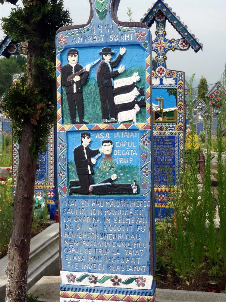 The shepherd and the robber on the grave at the Romanian cemetery