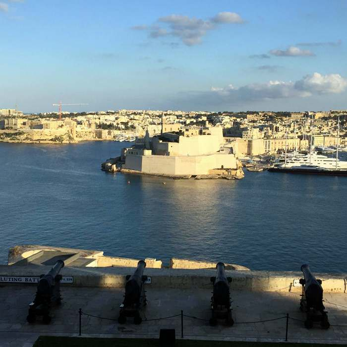 View from above the Gun Saluting Battery of Upper Barrakka Gardens in Valletta