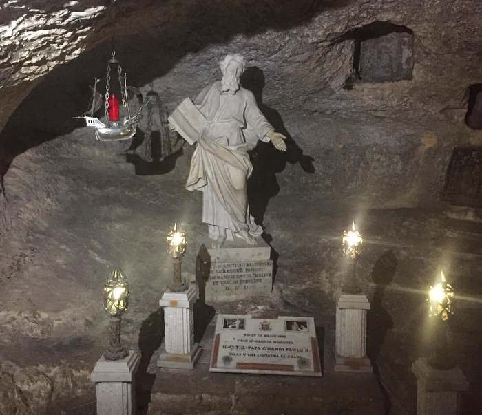 Inside St. Paul's Grotto in Malta