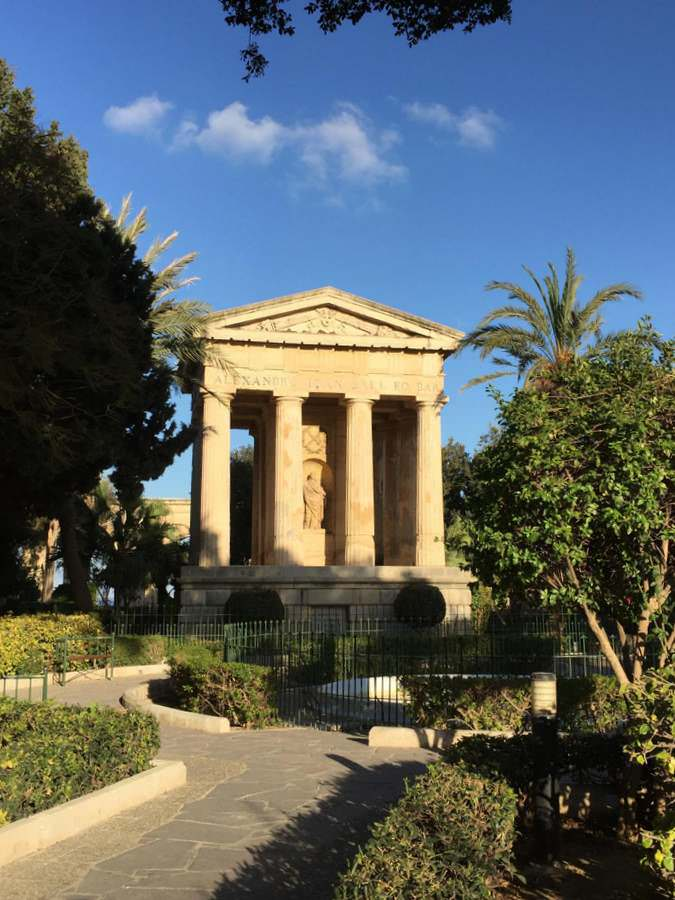 Greek revival temples in the Upper Barrakka Gardens of Valletta