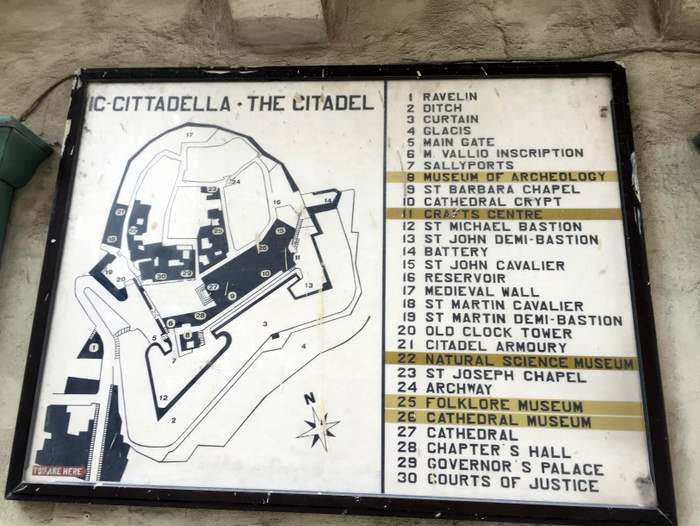 A map of the Citadella's cultural riches in Gozo