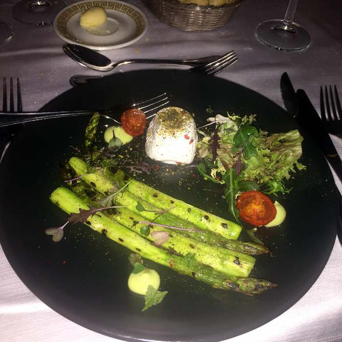Asparagus and local cheese appetizer
