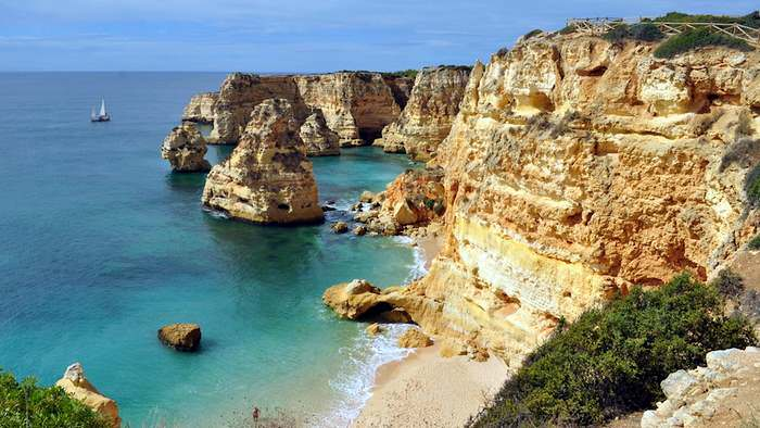 Praia da Marinha beach in Portugal, one of the best beaches in Europe