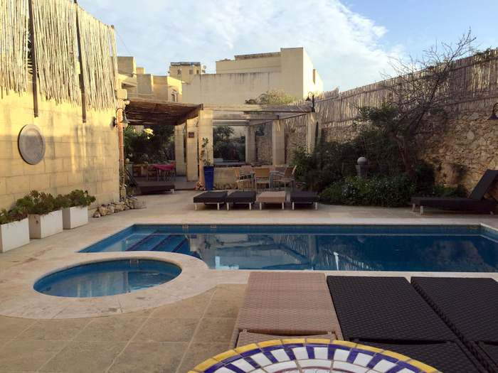 Pool area for relaxing at Dar Ta' Zeppi , great B&B lodging in Malta