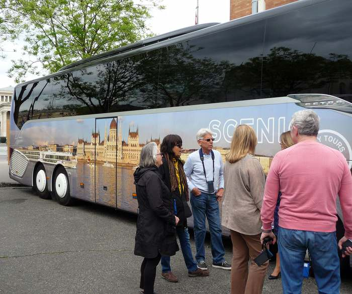 Boarding our Scenic bus for an exclusive tour on a Europe river cruise