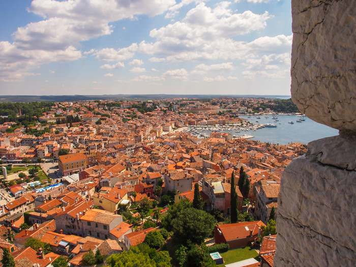 View from the St. Euphemia Church's bell tower in Rovinj, Istria