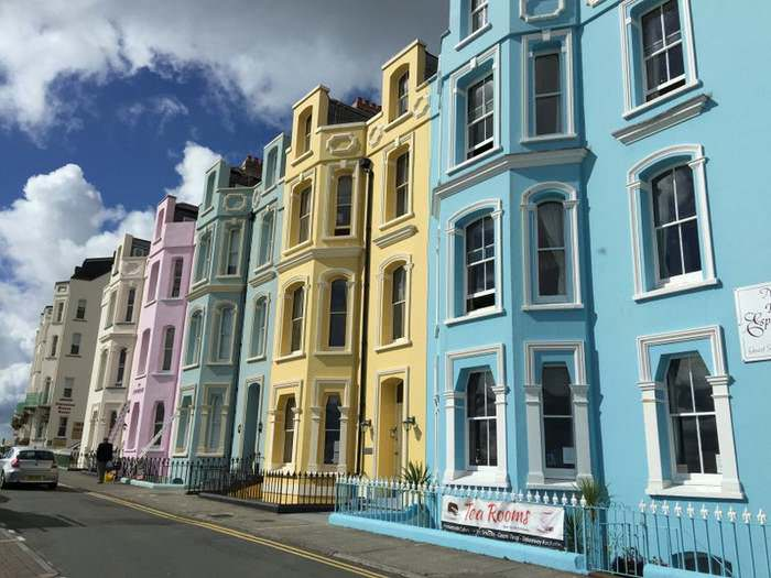 Many houses in Tenby are painted in bright pastel colors.