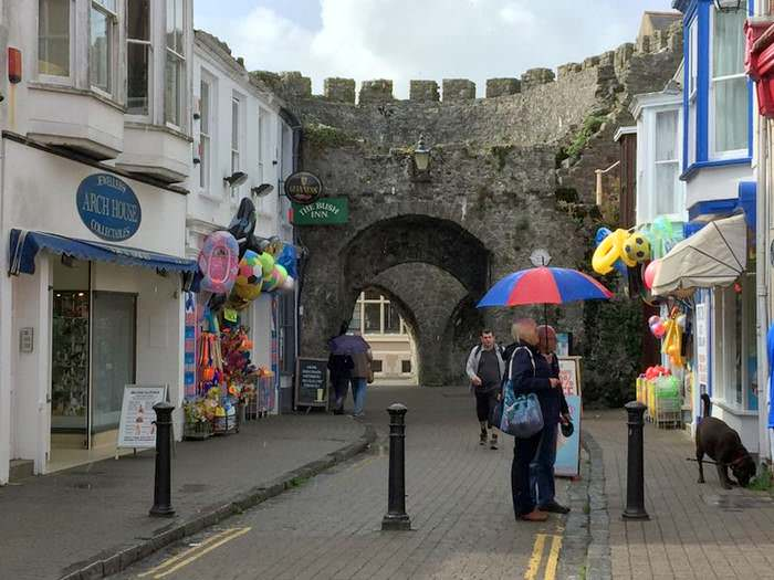 Shops line the streets in old Tenby.