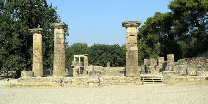 The Temple of Hera in Olympia, Greece