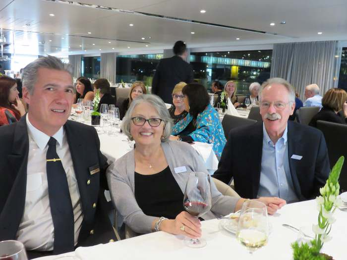 Captain's dinner on a senior river cruise