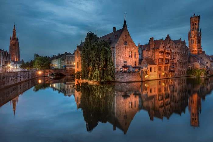 Bruges' Rozenhoedkaai at night -