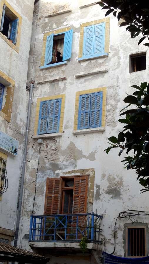 blue shuttered windows abound in Essaouira