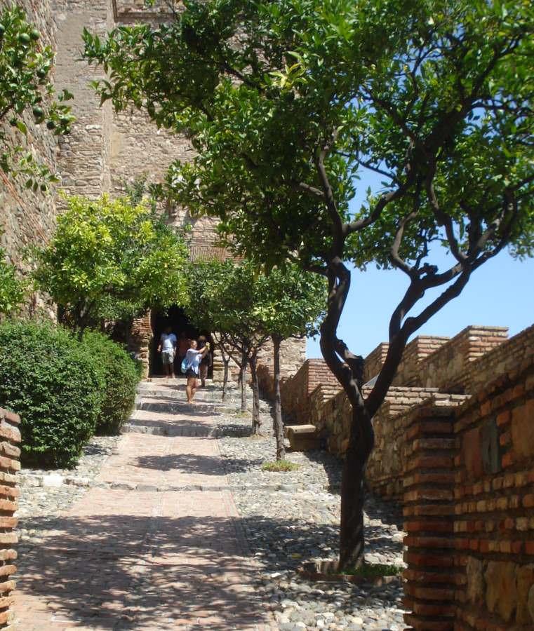 Inside the Alcazaba in Malaga, Spain