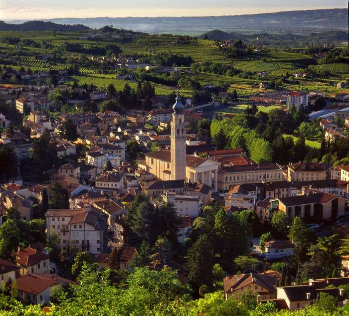 A panoramic view of Valdobbiadene while sightseeing in the Veneto